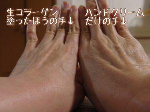 生コラーゲン塗った手